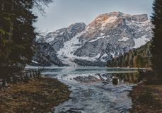 Landscape Photography of Body Water Across Mountain stock photography