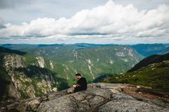 A landscape photography with mountains and clouds royalty free stock photos