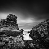 Long exposure Seascape with Rocks Stock Photo
