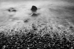 Long exposure Seascape with Rocks Royalty Free Stock Photography