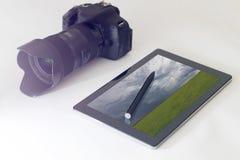 Landscape photography concept, DSLR, digital tablet Royalty Free Stock Images
