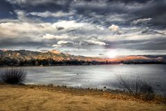 Landscape Photography of Mountains Near Body of Water royalty free stock photography