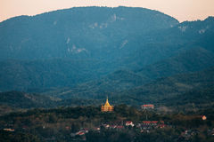 Landscape with Phra That Khong Santi Chedi Pagoda. Luang Pra Bang, Laos Stock Image