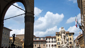 Landscape of Piazza della Signoria, Florence, Italy. Landscape of the Piazza della Signoria (Signoria square) and Palazzo Vecchio (The Old Palace) with famous Royalty Free Stock Images