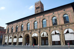 Landscape of the Piazza Maggiore in Bologna, Italy. Landscape of the Baroque, Medieval and Renaissance Piazza Maggiore (the Main Square) with Palazzo dei Banchi Stock Photo