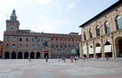 Landscape of the Piazza Maggiore in Bologna, Italy. Landscape of the Baroque, Medieval and Renaissance Piazza Maggiore (the Main Square) with Palazzo dei Banchi Royalty Free Stock Images