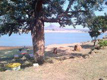 Landscape picnic area at the lake stock images
