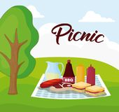 Picnic food design. Landscape with picnic blanket with food, colorful design. vector illustration Royalty Free Stock Image