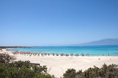 Landscape of pictorial beach at Chrissi Island, nearby Crete, Greece. Pictorial landscape of the lonely beach and turquoise sea at the Chrissi Island, nearby Royalty Free Stock Images