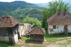 Landscape of pictorial traditional village houses, Serbia Stock Photo