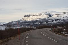 Landscape Picture of asphalt road in the Lapland in nord Sweden. Stock Photos