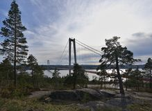 Landscape picture of the concrete hanging bridge over the baltic sea bay in Sweden. Stock Photo