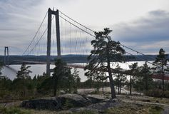 Landscape picture of the concrete hanging bridge over the baltic sea bay in Sweden. Stock Images