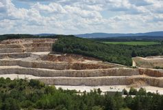 Landscape Picture on the deep opencast stone mine, quarry or surface, strip mine. Royalty Free Stock Photo
