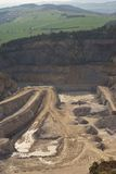 Landscape Picture on the deep opencast stone mine or surface, strip mine. Stock Image