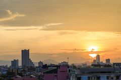 Landscape picture of Hatyai city Songkhla Thailand. Landscape picture with the sunset of Hatyai city Songkhla Thailand at evening, Hatyai is a port of southern Royalty Free Stock Photography