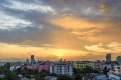 Landscape picture of Hatyai city Songkhla Thailand. Landscape picture with the sunset of Hatyai city Songkhla Thailand at evening, Hatyai is a port of southern Royalty Free Stock Images
