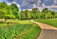 Landscape picture of a park in salzburg, austria Stock Image