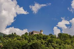 Landscape picture of sassocorbaro castle in bellinzona royalty free stock photography