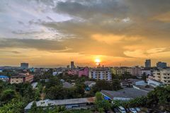 Landscape picture of Hatyai city Songkhla Thailand. Landscape picture with the sunset of Hatyai city Songkhla Thailand at evening, Hatyai is a port of southern Stock Photos