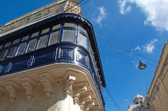 Malta, Rabat: Picturesque, traditional balconies. Landscape of picturesque, wooden and traditional balconies, mandatory element of the Maltese architecture in Stock Images