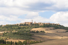 Landscape of Pienza, Tuscany. Pienza, a town and comune in the province of Siena, in the Val d'Orcia in Tuscany (central Italy). Added to the UNESCO list of Stock Photo