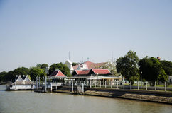 Landscape with pier of Bang Pa In palace at chao phraya river Royalty Free Stock Photos
