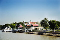 Landscape with pier of Bang Pa In palace at chao phraya river Stock Images