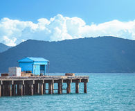 Landscape of pier with mountain view Stock Photo