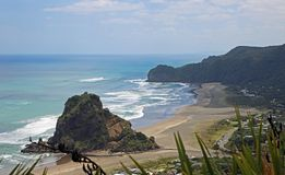 View at Piha Beach. Landscape with Piha Beach, New Zealand Stock Photo
