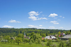 Landscape with the pilgrimage church Maria Hilf in Moosbronn Stock Photography