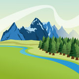 Landscape with pine trees and mountains design, Colorfull illust Royalty Free Stock Photography