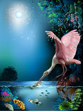 Landscape. With pink bird and fish Royalty Free Stock Photography