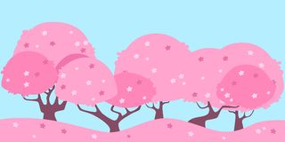 Landscape Pink cherry. Blossom sakura tree. Landscape Pink cherry. Flat design. Vector illustration Royalty Free Stock Image