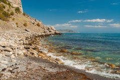 Landscape in Pirates' Bay near Noviy Svet resort on a Black Sea shore, Crimean peninsula Stock Image