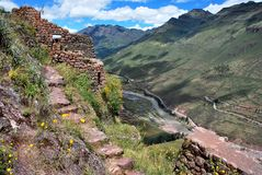 Landscape in Pisac in the Urubamba valley royalty free stock image