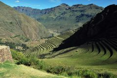 Landscape in Pisac in the Urubamba valley stock photography