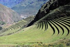 Landscape in Pisac in the Urubamba valley stock photos
