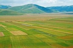Landscape of the plain of Castelluccio, in Italy Stock Photos