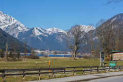 Landscape of the plain with a lake surrounded by mountains Stock Photography
