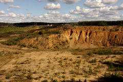 A landscape of plains, rocks and clouds Stock Photo