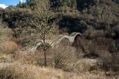 Landscape of Plakidas Bridge, Pindus Mountains, Zagori, Epirus, Greece Royalty Free Stock Photos
