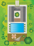 Landscape Plan with House and Pool - Garden Design Royalty Free Stock Photography