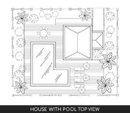 Landscape Plan of the house with swimming pool, furniture and trees in top view Stock Photos