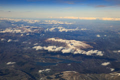 Landscape from plane window of high mountain in italy after plan Royalty Free Stock Photography