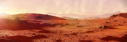 Landscape on planet Mars, scenic desert on the red planet 3d space rendering banner. Beautiful martian landscape panorama banner, desert in outer space royalty free stock photography