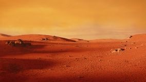 Landscape on planet Mars, scenic desert scene on the red planet. Beautiful martian landscape, desert in outer space Royalty Free Stock Photo