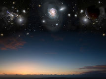 Landscape with planets in night sky Royalty Free Stock Image