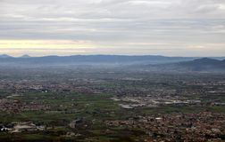 Landscape of the Po Valley with the city and the countryside Stock Image