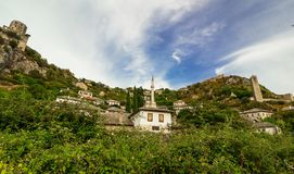 Landscape of Pocitelj, Mosque in the center, Bosnia and Herzegovina Royalty Free Stock Image
